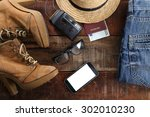 outfit of traveler  student ... | Shutterstock . vector #302010230