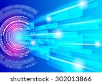 abstract technology lines with... | Shutterstock .eps vector #302013866