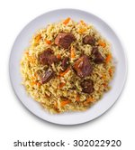 fragrant pilaf with meat and... | Shutterstock . vector #302022920