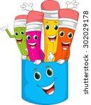 happy colorful pencil cartoon | Shutterstock .eps vector #302029178