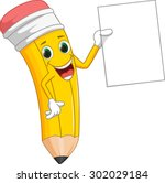 cute pencil with blank sign   Shutterstock .eps vector #302029184