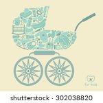 icons of products for babies in ... | Shutterstock .eps vector #302038820