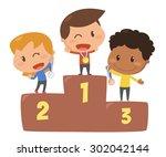 kids activity. winner. flat... | Shutterstock .eps vector #302042144