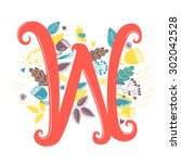 the letter w. bright floral... | Shutterstock .eps vector #302042528