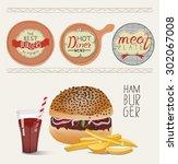 hamburger illustration. burger... | Shutterstock .eps vector #302067008