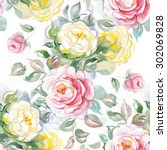 yellow  pink watercolor roses... | Shutterstock . vector #302069828