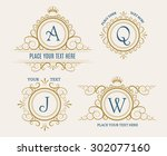 luxury retro logo set.... | Shutterstock .eps vector #302077160