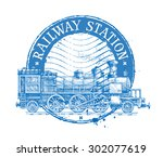 railway station vector logo... | Shutterstock .eps vector #302077619
