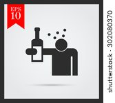 icon of man's silhouette... | Shutterstock .eps vector #302080370