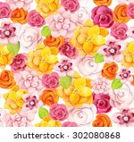 seamless pattern with beautiful ... | Shutterstock . vector #302080868