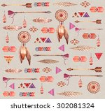 watercolor ethnic seamless... | Shutterstock . vector #302081324