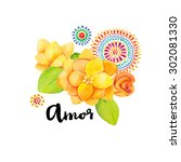 amor typography hand drawn.... | Shutterstock . vector #302081330