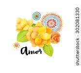 amor typography hand drawn.... | Shutterstock . vector #302081330