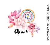 amor typography hand drawn.... | Shutterstock . vector #302081336