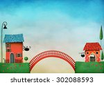 illustration with colorful... | Shutterstock . vector #302088593