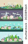 flat design nature landscape... | Shutterstock .eps vector #302089664