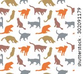 silhouettes cats seamless | Shutterstock .eps vector #302091179