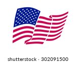 american flag waving. vector...