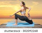 yoga  women  youth. | Shutterstock . vector #302092268