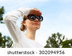 young white skinned girl with... | Shutterstock . vector #302094956