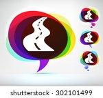 open road on colorful speech...   Shutterstock .eps vector #302101499