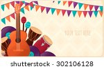 template with guitar ... | Shutterstock .eps vector #302106128