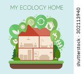 eco friendly home infographic.... | Shutterstock .eps vector #302113940
