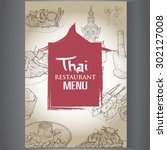 thai restaurant menu design. | Shutterstock .eps vector #302127008