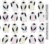 funny penguins on white... | Shutterstock .eps vector #302129000