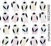 funny penguins on white... | Shutterstock .eps vector #302129000