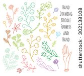set of summer flowers delicate... | Shutterstock .eps vector #302138108