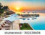 Small photo of Sunset at Dead Sea viewed from eastern side in Jordan.