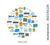 travel and tourism vector icons.... | Shutterstock .eps vector #302156120