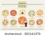 hand drawn pizza menu... | Shutterstock .eps vector #302161370