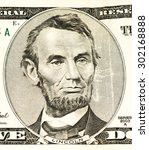 Small photo of 5 US dollars banknote made in 2003. Abe Linkoln portrait