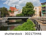 City of Bydgoszcz in Poland, houses along Brda river waterfront.