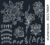 mehndi tattoo doodles set 2 ... | Shutterstock .eps vector #302178869