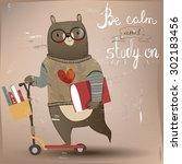 cartoon bear on the scooter | Shutterstock .eps vector #302183456