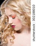 beautiful blonde woman with... | Shutterstock . vector #302188010