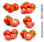 set of red tomatoes vegetables...   Shutterstock . vector #302198039