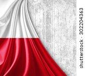 Poland Flag Of Silk With...