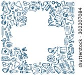 cross shape with medical icons...   Shutterstock . vector #302207084