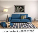 interior with sofa. 3d... | Shutterstock . vector #302207636