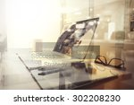 business documents on office... | Shutterstock . vector #302208230
