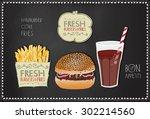 hamburger illustration. burger... | Shutterstock .eps vector #302214560