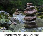 pebbles  stacked stones as...   Shutterstock . vector #302221700