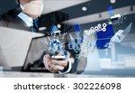 businessman shows modern...   Shutterstock . vector #302226098