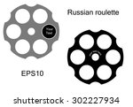 logo russian roulette style.... | Shutterstock .eps vector #302227934