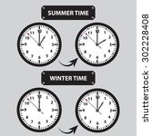 summer and winter time shifting ...   Shutterstock .eps vector #302228408