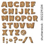 comic wood alphabet ... | Shutterstock .eps vector #302229104